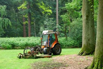 Lawn mower machine mowing the lawn in a formal garden