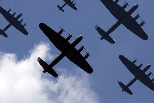 British Lancaster bombers flying overhead.