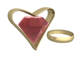 Ruby in gold heart and a ring. 3d mage.