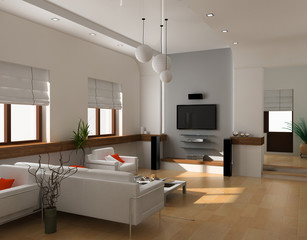 modern interior design (private apartment 3d rendering).