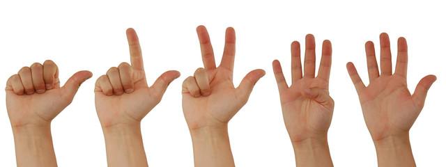Eins, Zwei, Drei, Vier, Fünf, Handzeichen für Zahlen