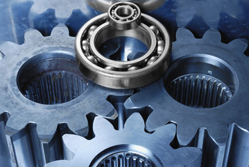 gear machinery concept in blue and silver