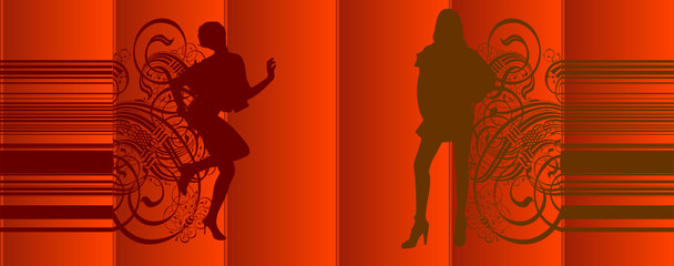 Girls Silhouette Red Curtains