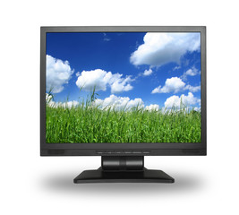 LCD screen with idyllic summer field,