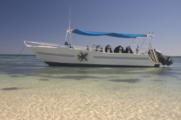 Dive Boat Over Crystal Waters