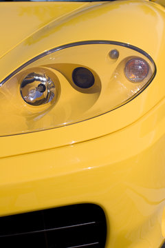 Yellow Sports Car Headlight
