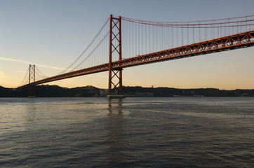 View of the 25th April Bridge over the river Tagus