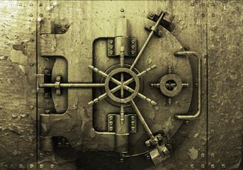 Grunge style bank vault background