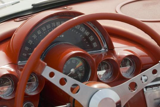 Close up detail of a classic Corvette at a car show