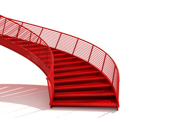 Photo on textile frame Stairs isolated red stairs