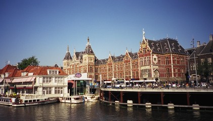 Three modes of transportation in Amsterdam