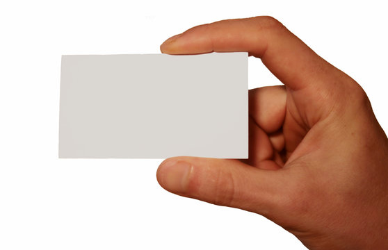 white business card in hand isolated