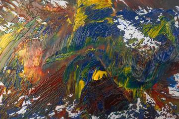 palette with oil paints