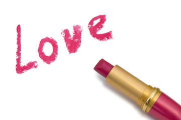 Word Love and lipstick, isolated on white background
