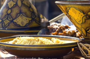 Foto op Canvas Marokko Golden light on traditional Cous-Cous