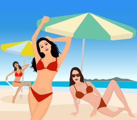 Attractive girls on beach