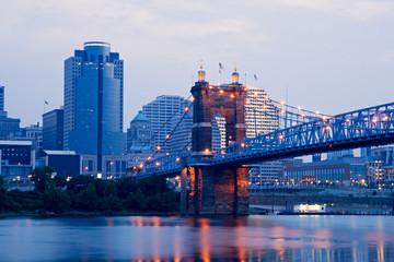 Cincinnati buildings and Roebling Suspension Bridge.