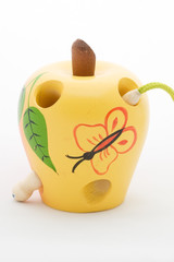 Apple and worm wooden children toy