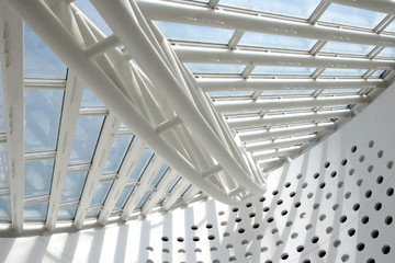 Architectural abstract - interior of a modern building .