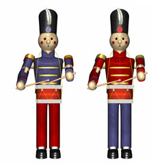 Two Christmas Toy Soldiers with drums.