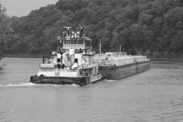 Tugboat & Barge 4 B&W