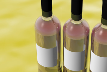 3D render of Bottles of red wine with blank labels