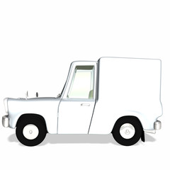 Toon White Delivery / Cargo Truck with blank body