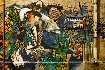 Abstract graffiti painting on the wall
