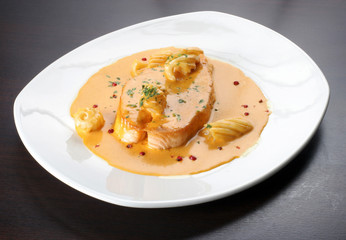 baked salmon sirloin in sauce with noodle