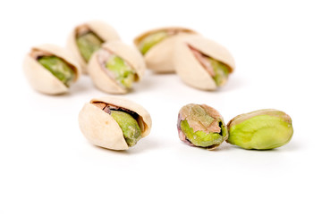 Pistachios nuts with white background