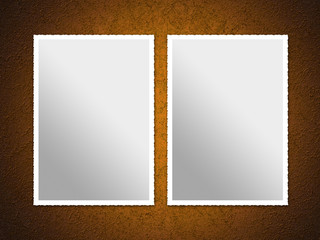 Illustration of two empty photos over a rusty surface.