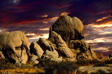 A Beautiful Sunset of the  Rocks In Joshua Tree