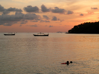 sunset over tropical sea, southern cambodia