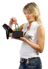 Blonde with blue eyes taking box with jewelry. Isolate on white.