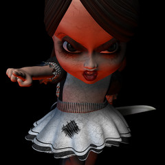 Last chance, now GO!.Halloween doll holding a knife.