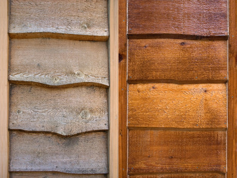 a comparison shot of old wood and restored wood siding