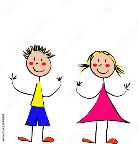 Gar on et fille photo libre de droits sur la banque d 39 images image 3668548 - Dessin fille et garcon ...