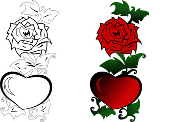 Red rose and heart and green leaves