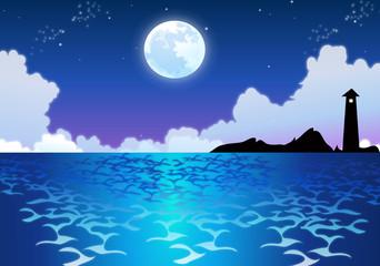 Sparkling Ocean Water in Moonlight