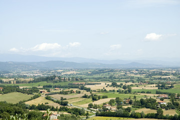 landscape Toscane with cypress and hills