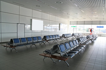 A waiting area in an airport terminal