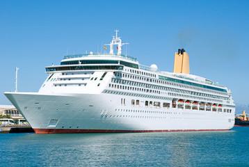 Elegant Cruise ship visiting Las Palmas, Spain.