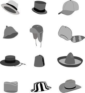 hats illustrations, colors changeable