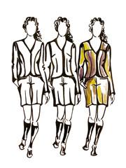 Three models is watercolours drawn illustration.