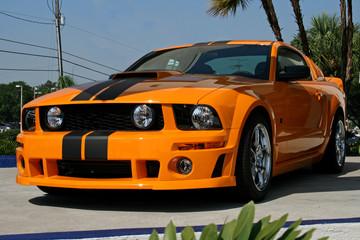 orange american muscle car