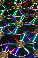 DVD disks reflecting colorful light