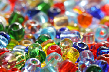 Colorful beads with selective focus on the one in the front
