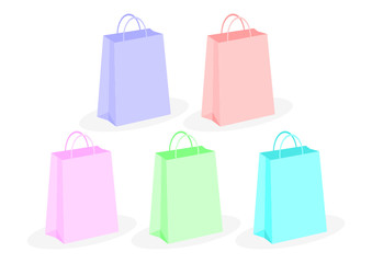 Shopping bags with different colors over white background