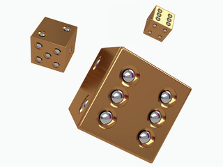 3d golden dices with silver dots