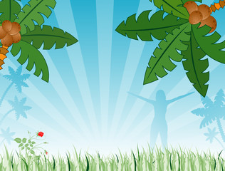 Summer background with palm tree, vector illustration